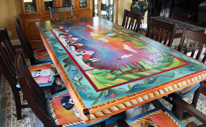 A Pet Lover S Dream Custom Sticks Dining Table With Room For All